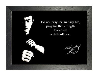 Bruce Lee Easy Life Quote Actor Poster Motivational Strong Black & White Photo
