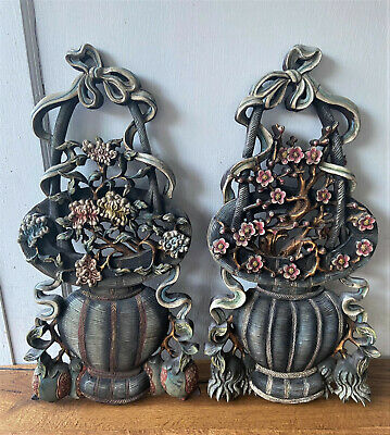 Pair of 2 Antique Carved French Wood Faux Bois Wall Hanger Plaque Floral Basket