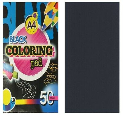 New A4 50 Sheets Plain Black Paper Colouring Pad Book for Children Activity Play