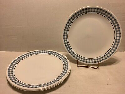 Lot of 4 Corelle Dinner Plates -  Gingham Blue