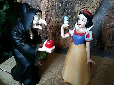 DISNEY SNOW WHITE CERAMIC, OLD HAG SCHMID RESIN, FIGURINES, BOTH NEW, 6 in. tall