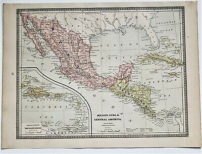 Original 1883 Color  Map Of Mexico Cuba Cen Amer  From Crams  Atlas Of The World