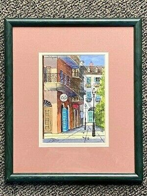 Professionally Framed Watercolor Painting of Pirate's Alley New Orleans - Davis