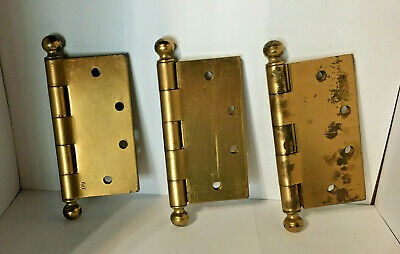 3 Vintage NOS Stanley Bright Brass Plated Hinges - Cannon Ball Finial - 4.5""
