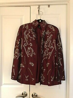Linda Allard Ellen Tracy Maroon Embroidered and Beaded Floral Jacket, Size 12