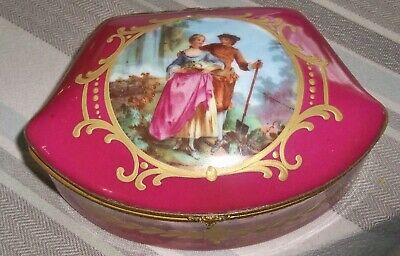 Antique Sevres Style HINGED Jewerly Box WITH COUPLE Signed BELDIN?  FRANCE