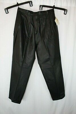 Nwt Evan Davies Black Pleat Front Straight Leg Lined Leather Pants Sz 16 #H434