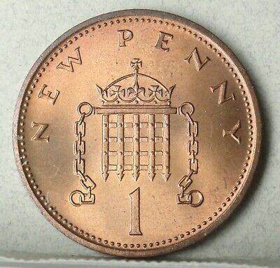 1971 Great Britain  New Penny, Brilliant Uncirculated