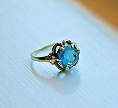 Czechoslovakian Solid Silver Large Aquamarine Ring size P