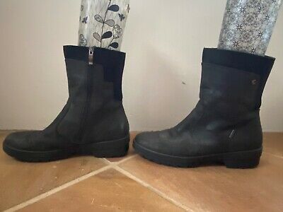 Stunning ARA of Germany Size AU 9 Black Flat Leather Calf Boots MADE IN ITALY