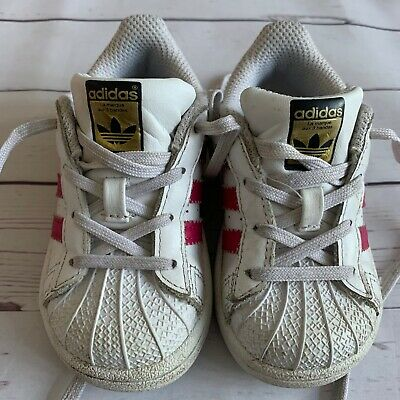 Baby Girls Infant Size 5 - Trainers ADIDAS Superstar Shell Toe White Pink Shoes