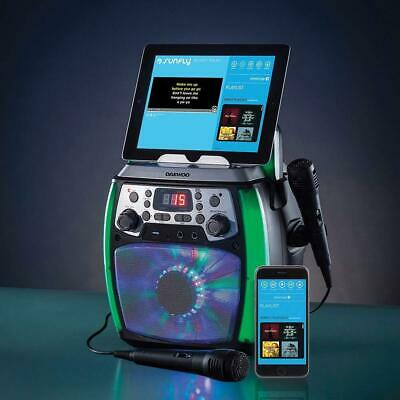 Daewoo Bluetooth Portable Karaoke Machine with 2 Wired Microphones LED Lights --