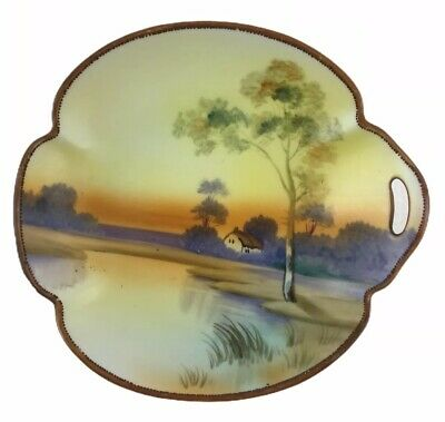Antique Nippon Hand Painted Porcelain Scenic Dish Landscape Lake Tree 5-1/2""