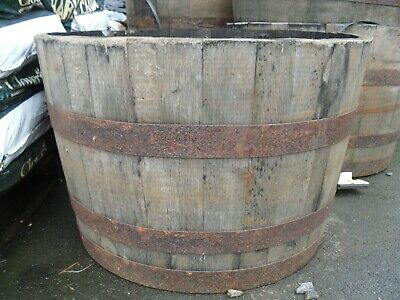 Genuine Half and Full Oak Whiskey Barrel Planters Garden Ornament