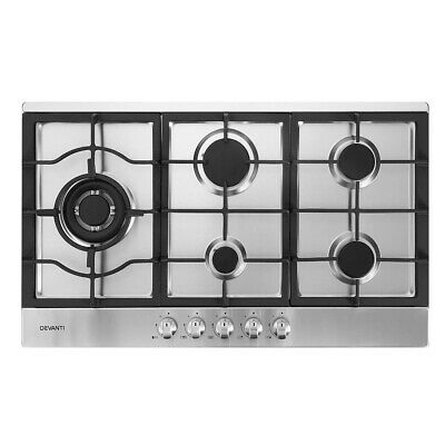 Devanti Gas Cooktop 90cm Kitchen Stove Cooker 5 Burner Stainless Steel NG/LPG Si