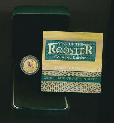 Australia: 2005 $5 Lunar Year of The Rooster 1/20oz 9999 Coloured Gold, Cased