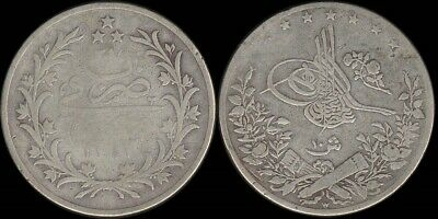 Egypt: AH1293/27 (1902) 10 Piastres silver, 32mm dia. Scarce.