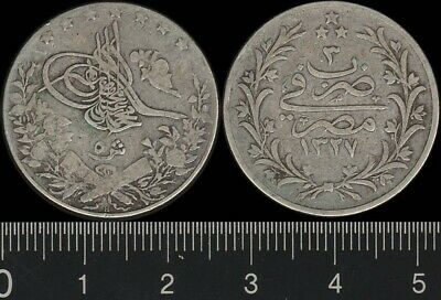 Egypt:  1911 AH1327/3  5 Qirsh silver coin