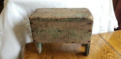 Antique Primitive Painted Wood Stool / Sitting Bench / Milking Stool