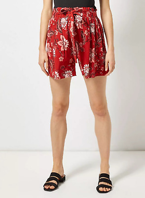 BNWT Dorothy Perkins Red Rust Floral Maternity Shorts Over Bump Size 8