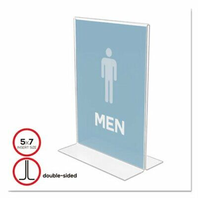 Deflect-o Stand-Up Double-Sided Sign Holder, Plastic, 5 x 7, Clear (DEF69101)