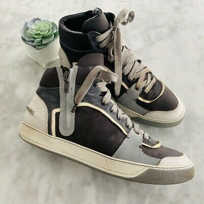 LANVIN 950$ Authentic New Grey Black Spray Paint Leather Oxford Sneakers