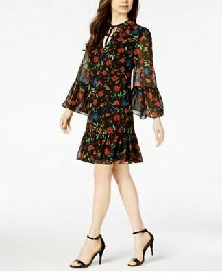 Calvin Klein Women's Peasant Dress Size 2 Black Floral Print Long Sleeve Mini