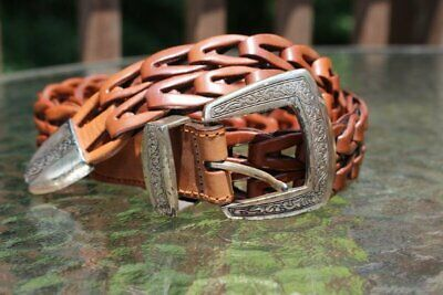 Vintage 1994 Brighton Womens Brown Leather Woven Belt Size Large #72306