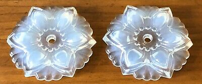 Antique Flower Petal White Opalescent Art Glass Curtain Tiebacks Tie Back PAIR