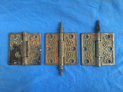 "Victorian Eastlake Cast Iron 3.5"" x3.5"" Steeple Top Hinges Parts Lot Salvage Vtg"