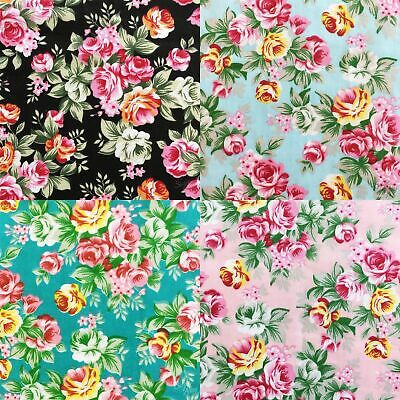 Floral Polycotton Fabric Tropical Roses Vintage Flower Material 114cm Wide