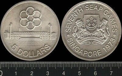 Singapore: 1973 $5 Seventh SEAP Games Five Dollars silver coin