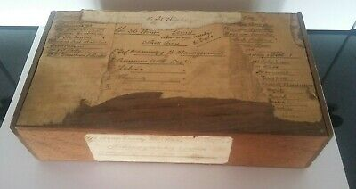 Wooden Accounts/Sundries Box Antique 1920s Hand Written on Paper Label to Top