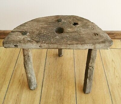 Old Antique Primitive Wooden Wood Chair Three Legged Stool Tripod 19th.