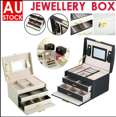 Large Jewelry Box Girl Ring Storage Organiser Holder Lock Case Mirror AU Seller