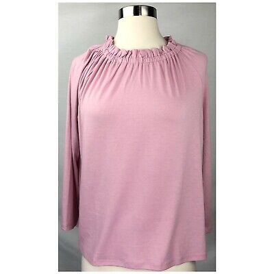 Ann Taylor Women's Size M Ruffle Neck 3/4 Sleeves Pink Blouse Top NWT NEW