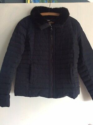 Jasper Conran black quilted puffa Jacket 12 feathers down faux fur collar  VGC