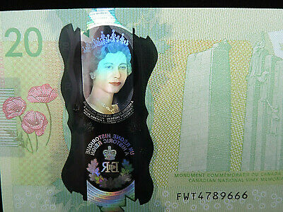 """2015 $20 Dollar Bank of Canada Banknote """"Young Queen"""" Holographic GUNC #FWT Bill"""
