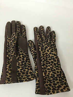 Leopard Print Gloves with brown suede fabric accents, one size fit all