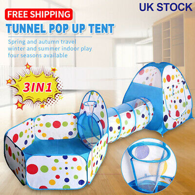 Portable Kids Play Tent 3 in 1 Portable Children Tunnel Pit Playhouse Pop Up UK