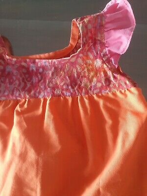 Pink And Orange Handmade Partydress Girls Size 8. Amazing Fabric