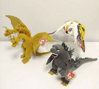 GODZILLA + MOTHRA + KING GHIDORAH = Japan Exclusive Ty Classic Beanie Baby Set !