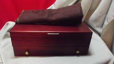 NEW Vintage McGraw Sterling Silver Flatware Wooden Storage Box Chest w/Drawer