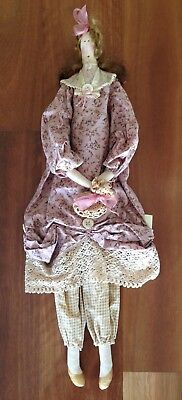 Brand New Handmade 'Shabby Chic' Doll Vintage Fabric, Lace & Buttons Rrp$58