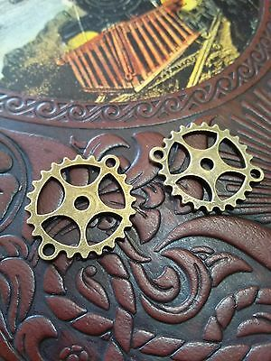 4 Gear Pendant Connectors Antiqued Bronze Steampunk Clock Parts Cogs Links