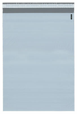 """Plymor Poly Mailer White/Gray Bag w/ Closure & Strip, 14.5"""" x 19"""" (Case of 500)"""