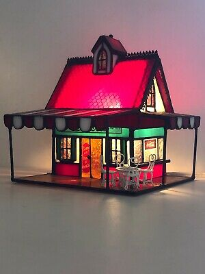 Coca-Cola Franklin Mint Stained Glass Ice Cream Parlor w/ Furniture 1999  COA