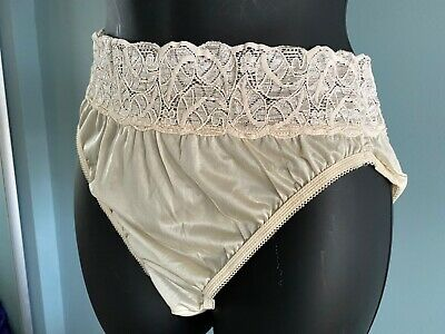 Vintage Granny Panties Silky Sheer Beige Nylon Lace Sissy Hi Cut Brief Sz 8 USA