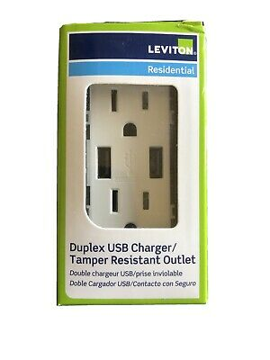 NEW Leviton RESIDENTIAL DUPLEX USB CHARGER TAMPER RESISTANCE OUTLET T5632-W