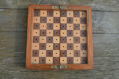 Antique Edwardian mahogany inlaid traveling chess games box by Hamleys London